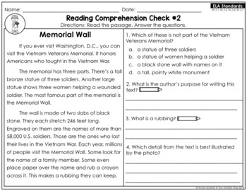Reading Comprehension Passages and Questions: November (2nd Grade)