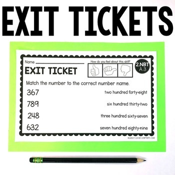 2nd Grade Numbers & Operations in Base Ten Exit Tickets