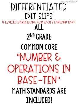 2nd Grade Numbers and Operations Base-10 Common Core Exit Slips Assessment Pack