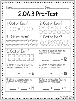 2nd Grade OA Math Assessments - Pre and Post Tests