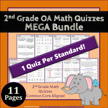 2nd Grade OA Quizzes: 2nd Grade Math Quizzes, Operations & Algebraic Thinking