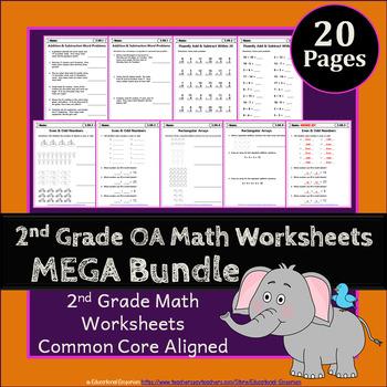 2nd Grade OA Worksheets: 2nd Grade Math Worksheets, Operations & Algebraic