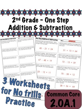 2nd Grade One Step Addition and Subtraction - Common Core 2.OA.1
