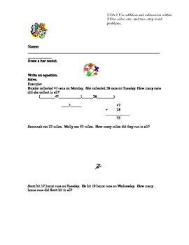 2nd Grade One Step Two-Digit Addition Word Problems Common Core