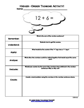Higher-Order Thinking Worksheets (2nd-Grade Operations & Algebraic Thinking)!