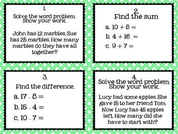 2nd Grade Operations and Algebra Task Cards