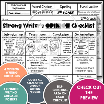 2nd Grade Opinion Writing Checklist