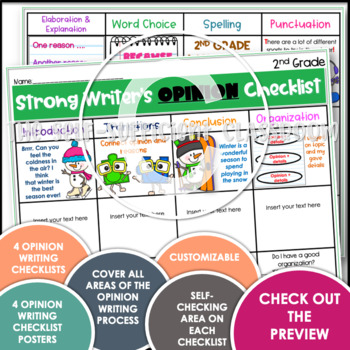 2nd Grade Opinion Writing Checklist~ EDITABLE