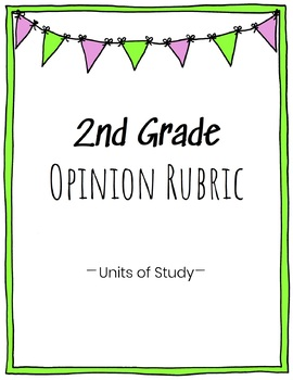 2nd Grade Opinion Writing Rubric