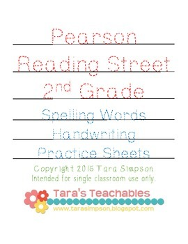 2nd Grade Pearson Reading Street Spelling Word Handwriting Practice Sheets