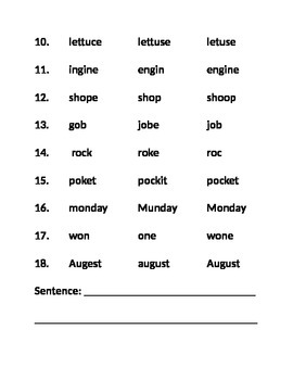 2nd Grade Pearson Unit 1 Multiple-Choice Spelling Tests