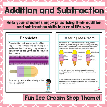 2nd Grade Math Task Addition, Subtraction, Measurement Ice Cream
