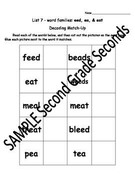 2nd Grade Phonics Decoding Match-Up