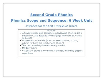 2nd Grade Phonics Scope and Sequence, Assessments, and Word Work Materials