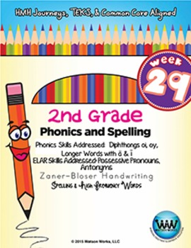 2nd Grade Phonics & Spelling Zaner-Bloser Week 29 (Longer Words w/ ā/ī, oi, oy)