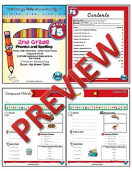2nd Grade Phonics and Spelling D'Nealian Week 15 (Schwa Vowels, Compound Words)