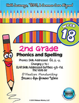 2nd Grade Phonics and Spelling D'Nealian Week 18 (Long ē Spelled y)