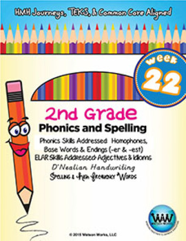 2nd Grade Phonics and Spelling D'Nealian Week 22 (Homophones, -er & -est)