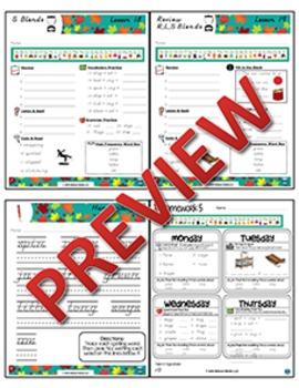 2nd Grade Phonics and Spelling D'Nealian Week 5 Consonant Blends (r, l, & s)