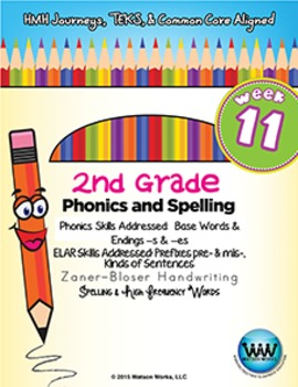 2nd Grade Phonics and Spelling Zaner-Bloser Week 11 (-s & -es)