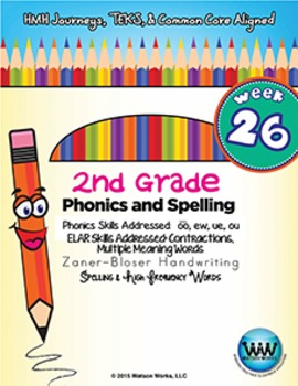 2nd Grade Phonics and Spelling Zaner-Bloser Week 26 (long oo, ew, ue, ou)