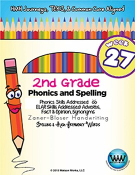 2nd Grade Phonics and Spelling Zaner-Bloser Week 27 (short oo)