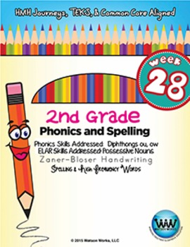 2nd Grade Phonics and Spelling Zaner-Bloser Week 28 (Diphthongs ow, ou)