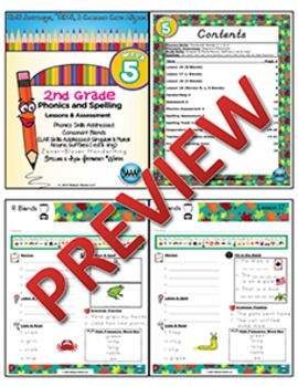 2nd Grade Phonics and Spelling Zaner-Bloser Week 5 (Consonant Blends r, l, & s)