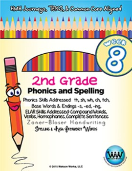 2nd Grade Phonics and Spelling Zaner-Bloser Week 8 (th, sh, wh, ch, tch, ph)
