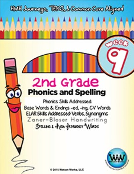 2nd Grade Phonics and Spelling Zaner-Bloser Week 9 (-ed & -ing, CV Words)