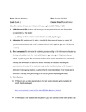 2nd Grade Physical Science Lesson Plan- States of Matter