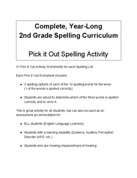 2nd Grade Pick it Out Spelling Activity