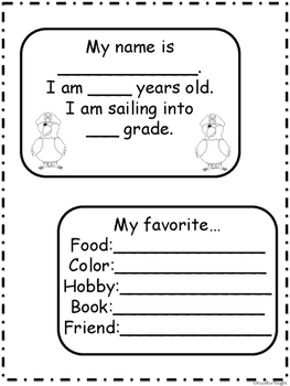 2nd Grade Pirate All About Me Book