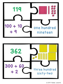 2nd Grade Place Value Base Ten Blocks Puzzles 2.NBT.3