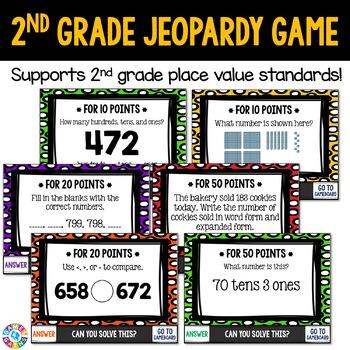 2nd Grade Place Value Jeopardy Game {2.NBT.1, 2.NBT.2, 2.NBT.3, 2.NBT.4}