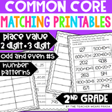 2nd Grade Place Value Matching Activity Printables (Common Core Aligned)