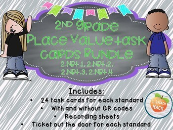 2nd Grade Place Value Task Cards Bundle 2.NBT1. 2.NBT.2 2.NBT.3 2.NBT.4