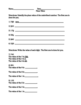 2nd Grade Place Value Worksheet