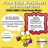 2nd Grade Place Value Worksheets and Powerpoint 2.NBT.1 (D