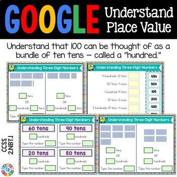 2nd Grade Place Value for Google Classroom: Three Digit Numbers {2.NBT.1}