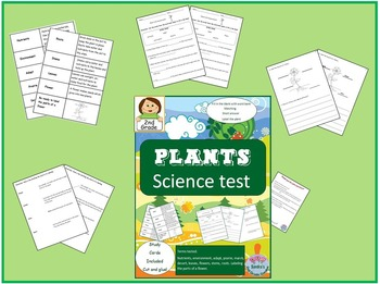 2nd Grade Plants Science Test - Study Cards and Answer Keys Included! No Prep!