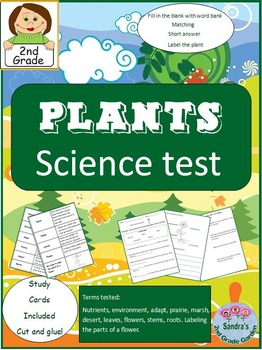 2nd Grade Plants Science Test - Study Cards and Answer Key