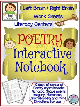 2nd Grade Poetry Interactive Notebook for Left Brain/Right Brain Learning