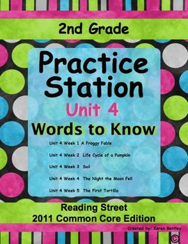 2nd Grade, Practice Station Words to Know, Unit 4, Reading Street, c.c. ed.