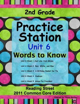 2nd Grade, Practice Station Words to Know, Unit 6, Reading