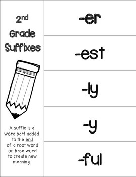 2nd Grade Prefixes and Suffixes Foldable