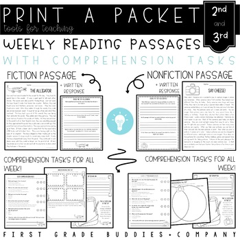 2nd/3rd Grade Print a Packet: NO PREP Reading Comprehension Packs for the Week