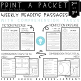 2nd/3rd Grade Reading Comprehension Passages and Questions | Weekly Packets