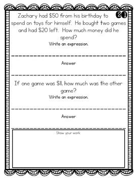 2nd Grade Problem of the Day Story Problems- March