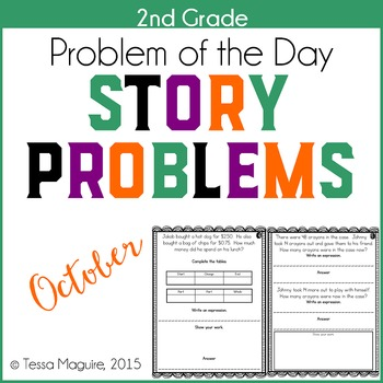 2nd Grade Problem of the Day Story Problems- October